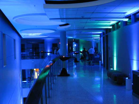 Event Lighting at Lewis University Science Building - Hallway Uplighting