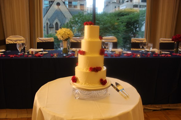 Omni Chicago Hotel Wedding cake by Bittersweet Bakery
