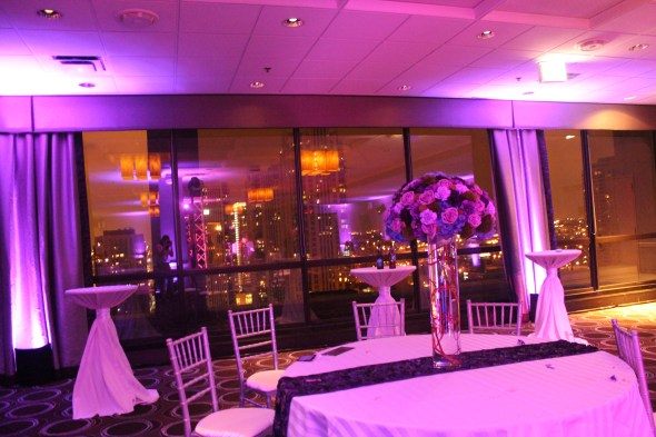 Blue The Daisy Floral & Design centerpieces at the Holiday Inn Mart Plaza Wedding