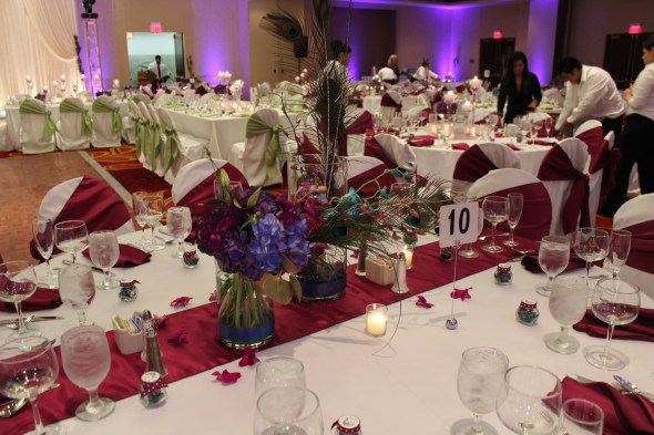 Themed centerpieces at the Marriott Schaumburg Wedding