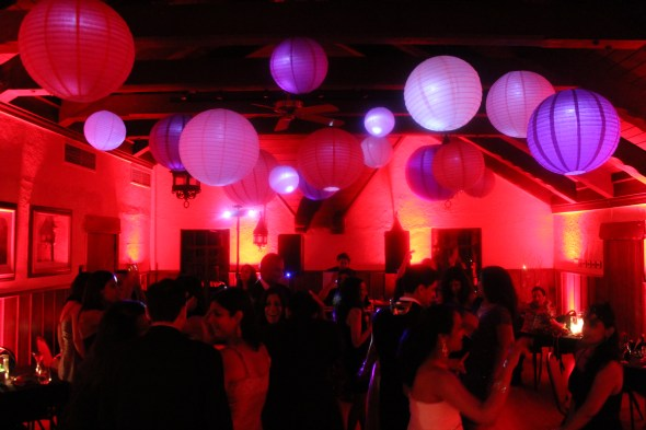 Floating lanterns at Masquerade Birthday Party