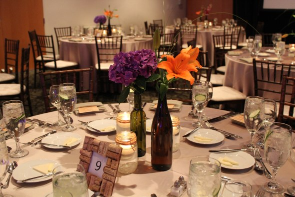 Independence Grove Wedding wine bottle centerpieces