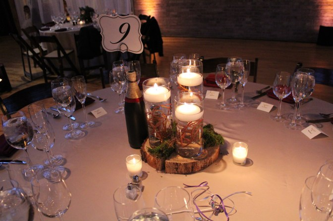 forest like centerpiece at the Bridgeport Art Center Wedding