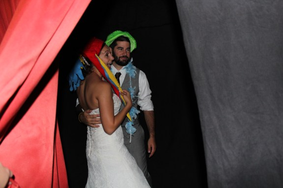 Bride and Groom in Photo Booth at the Cantigny Park Wedding