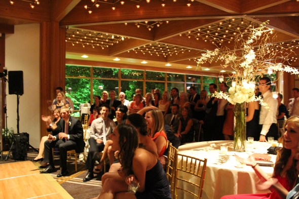 Guests watching the Newly Weds at the Oak Brook Hyatt Lodge