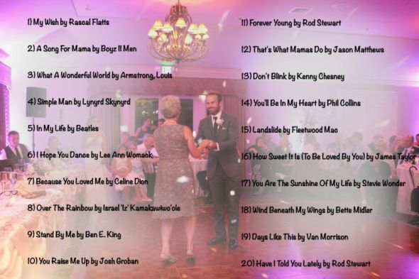 Wedding Music List - Top 20 Mother Son Dance Songs of 2013