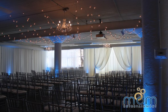 Room 1520 wedding lighting and drape