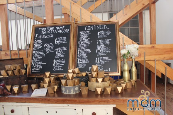 Seating cards at Meagan and Ryan's Kitchen Chicago and City View Loft wedding