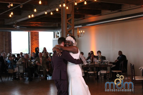 Happy Couple at Kitchen Chicago and City View Lofts Wedding