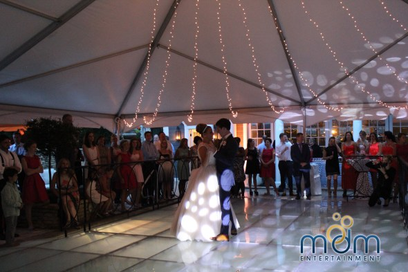 First dance at backyard wedding