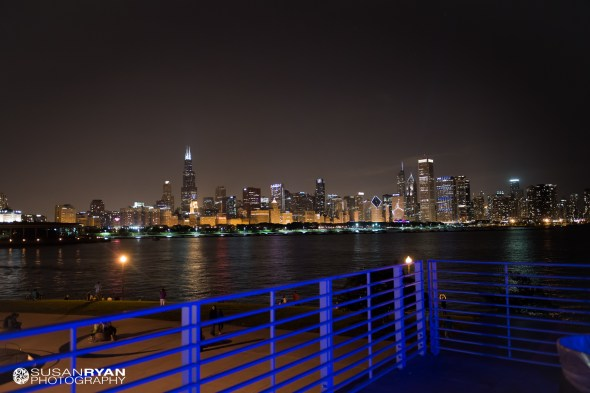 Chicago Skyline View from and Adler Planetarium Wedding