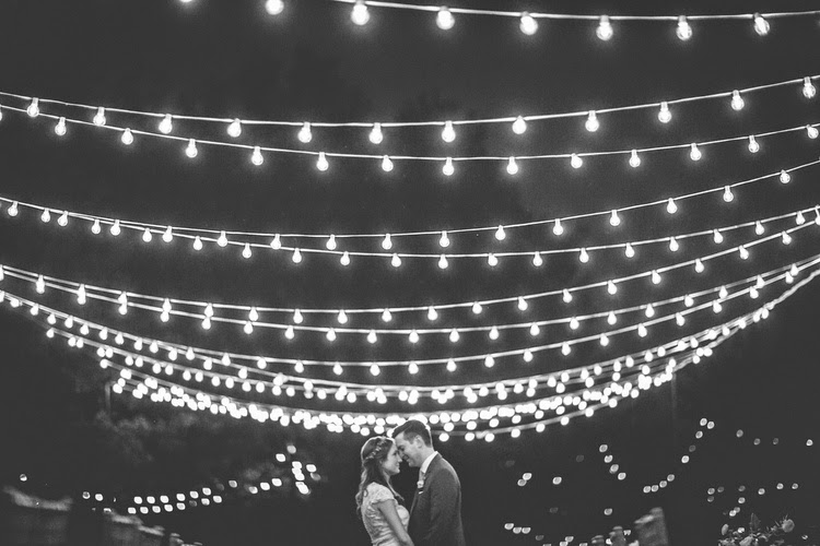 Wedding string lights at Heritage Prairie Farms