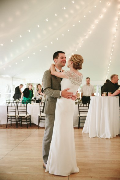 Tent wedding string lights first dance