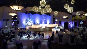 Backdrop, Uplighting and Grapevine Ball Chandeliers at a Pheasant Run Wedding