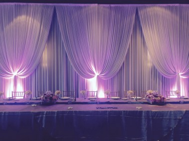Backdrop and purple uplighting at Hyatt Oakbrook Lodge