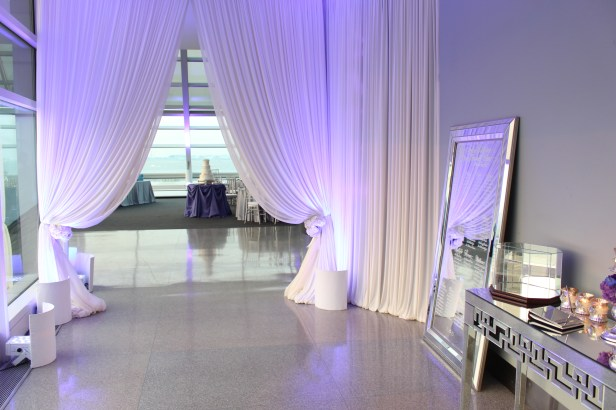 Entry Drape for Cafe Galileos at an Adler Planetarium Wedding