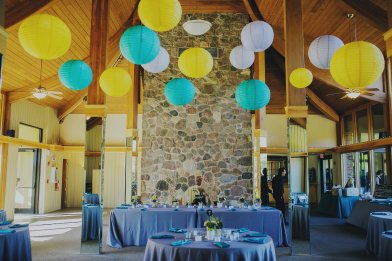 Hanging Lanterns at an Oak Brook Bath and Tennis Wedding