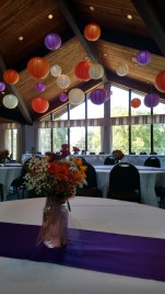 Purple, Orange and White Hanging Paper Lanterns for a Wedding