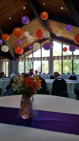Purple, Orange and White Hanging Paper Lanterns for a Wedding