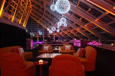 Silver Pendant Chandeliers, Uplighting, LED Games and Lounge Furniture for an Adler Planetarium Corporate Event 2