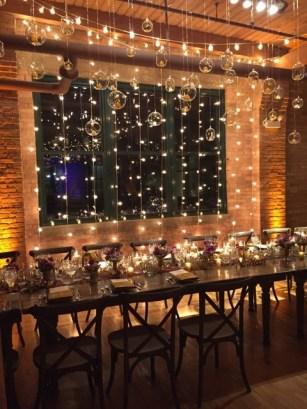 Twinkle lights and hanging globes at Bridgeport Art Center