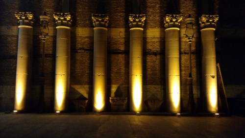 Uplights on the Columns at an Architectural Artifacts Wedding