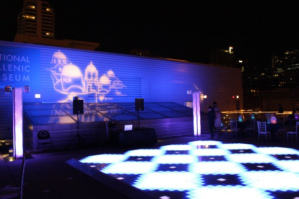 Led Dance Floor at National Hellenic Museum Rooftop Wedding