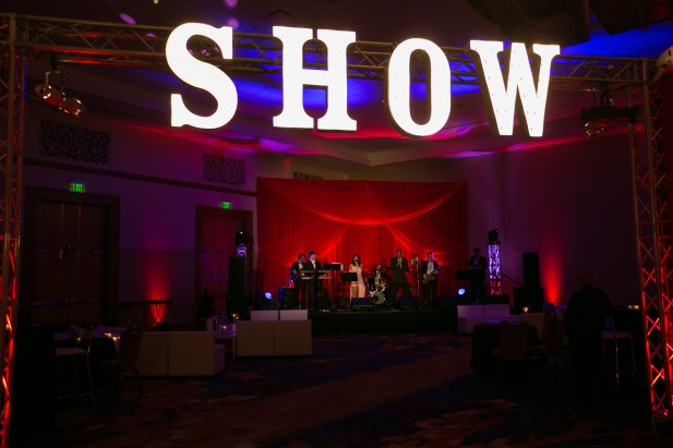 Band backdrop and lighting for a corporate event