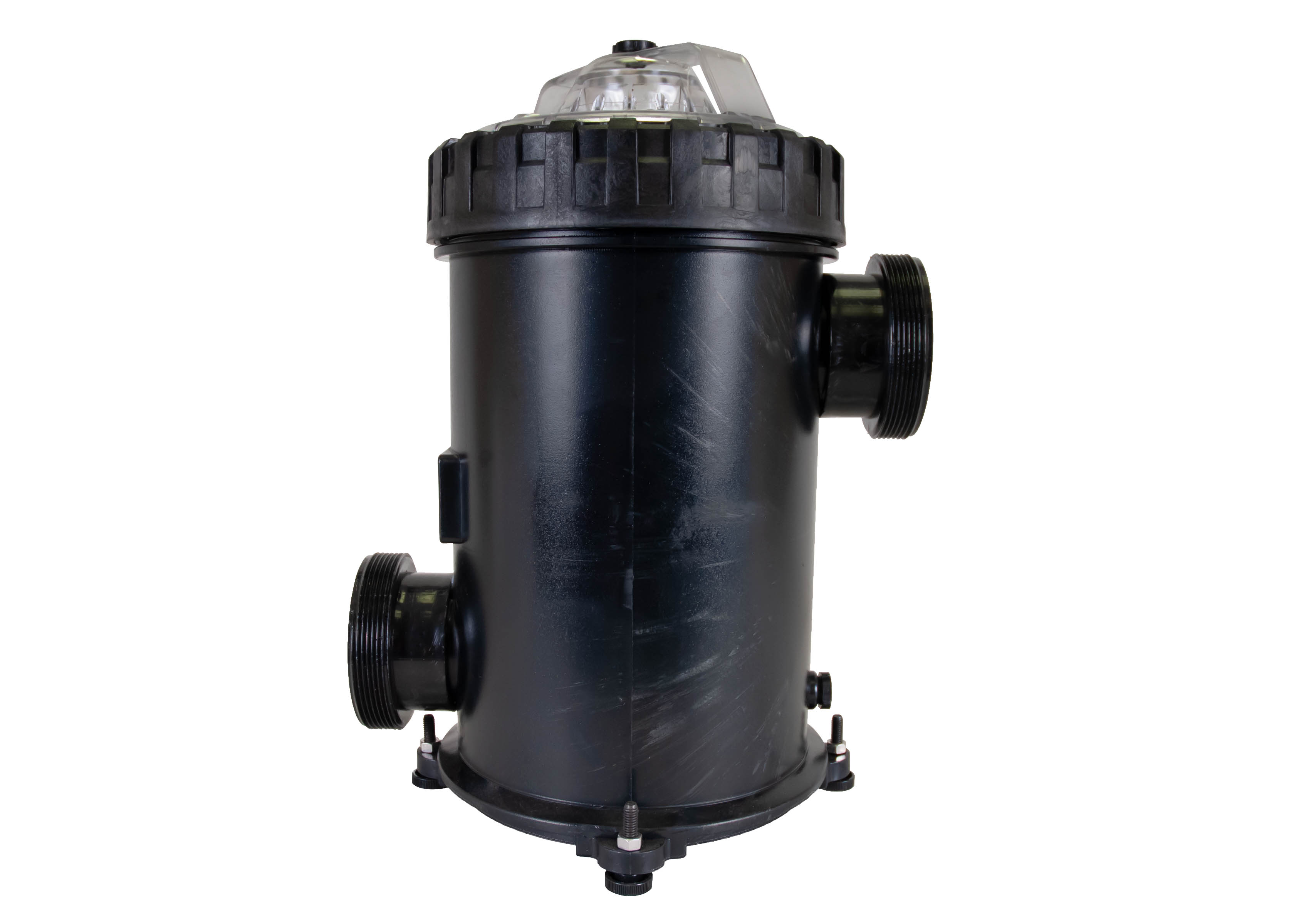 500 cubic liter Strainer Basket with 3 inch ports left side view