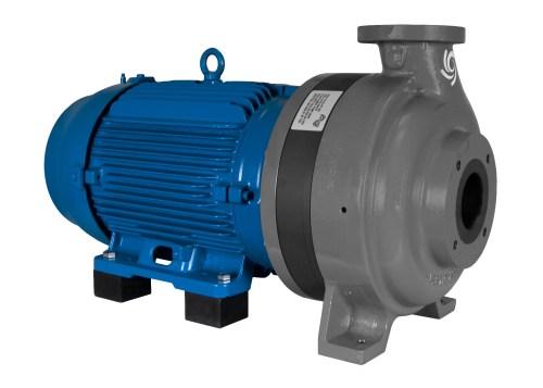 C-Shell 3x2-10 Pump with blue WEG Motor left angle view