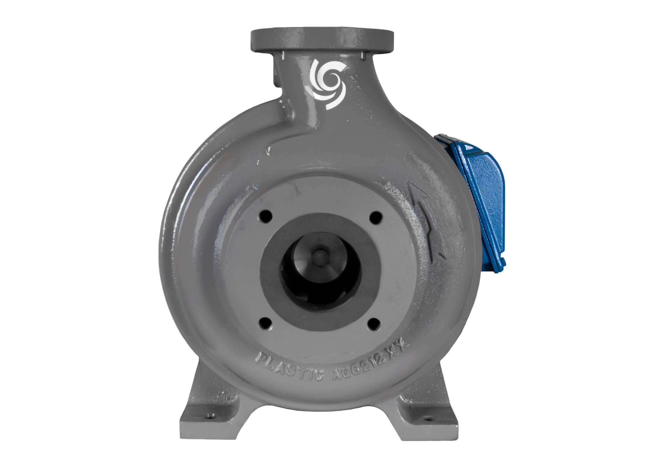 C-Shell 3x2-10 Pump with blue WEG Motor front view