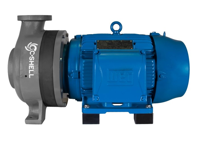 C-Shell 3x2-10 Pump with blue WEG Motor right side view
