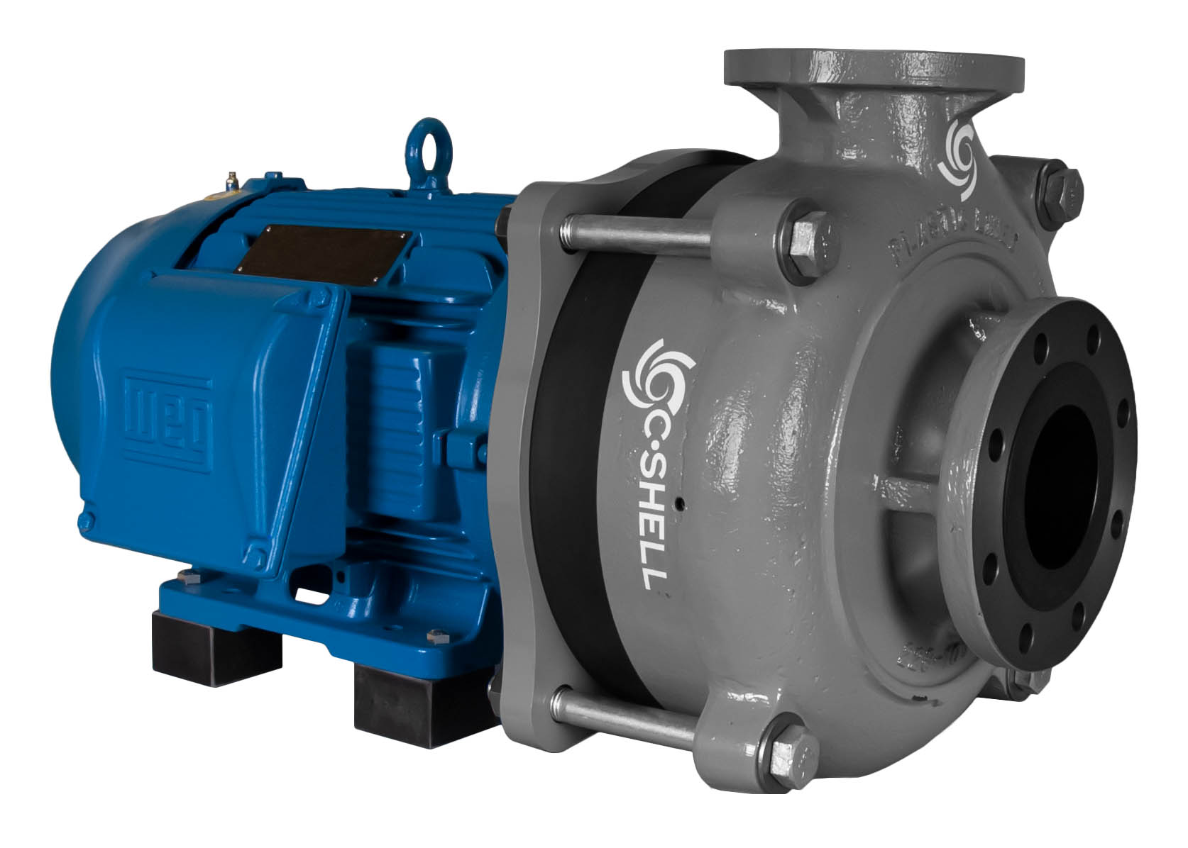 C-Shell 4x3-11 Pump with blue WEG Motor left angle view