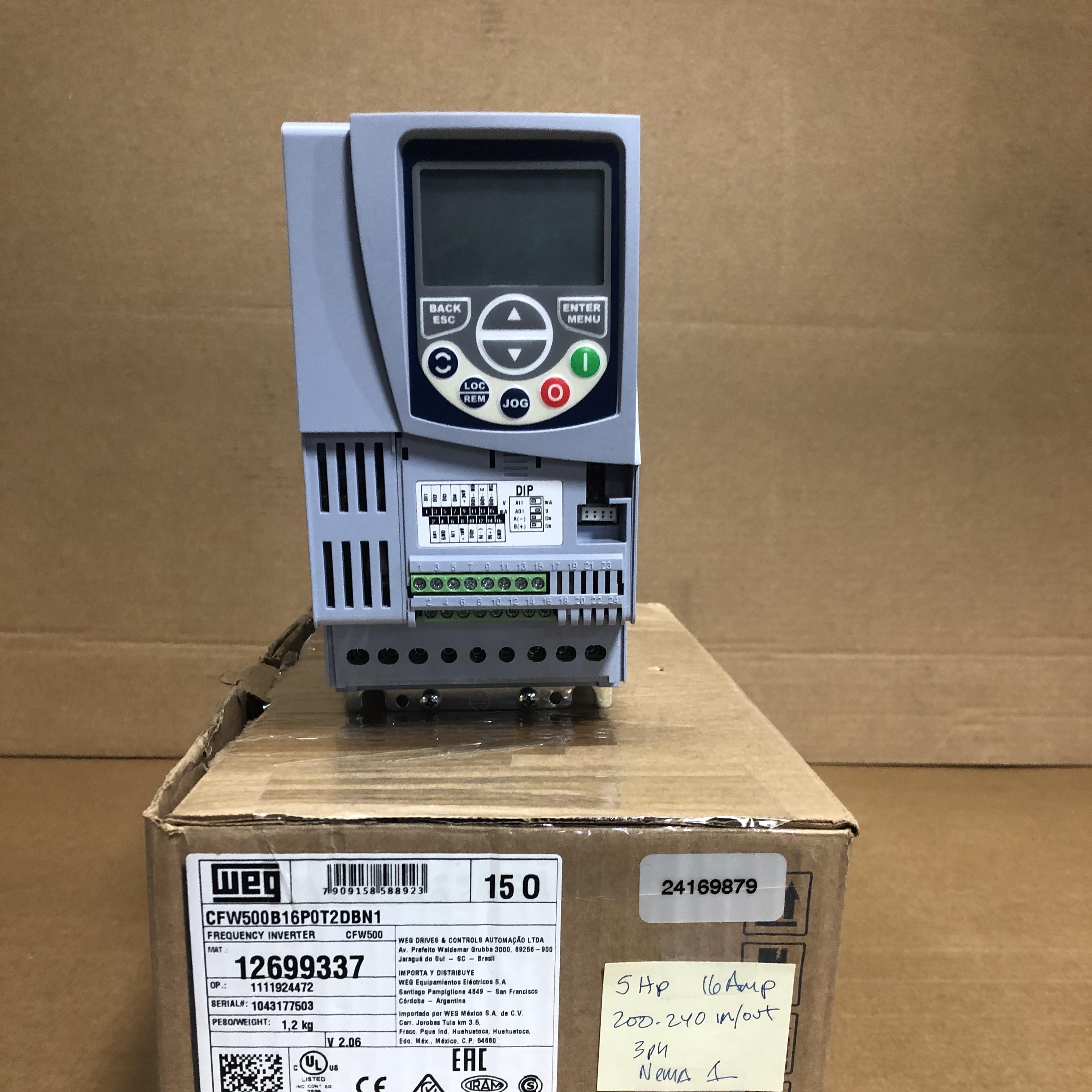 WEG CFW500 Series VFD: 5hp, 200-240v, 3phase, 16A, NEMA-1X front view