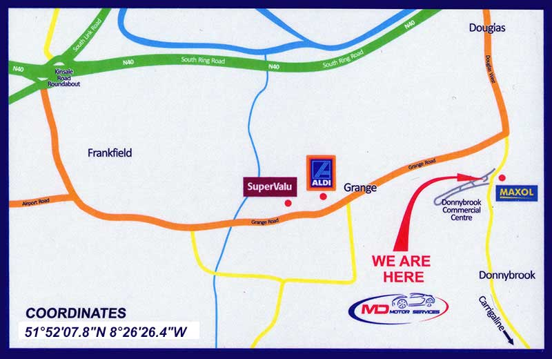 Image of a Map with Directions to MD Motor Services