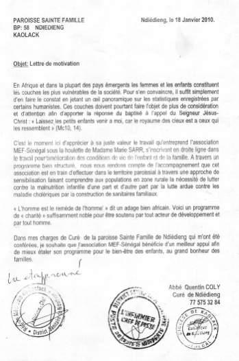Appui à MEF Sénégal