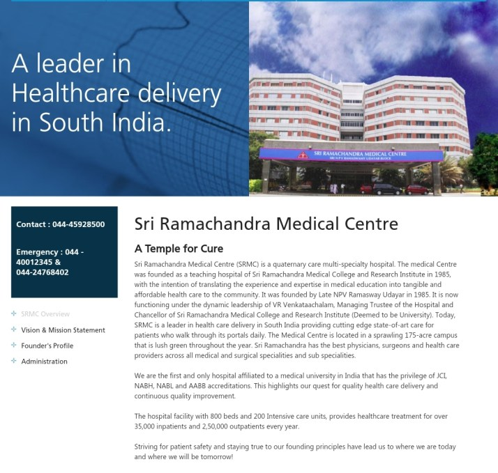 Direct admission in Ramachandra medical college