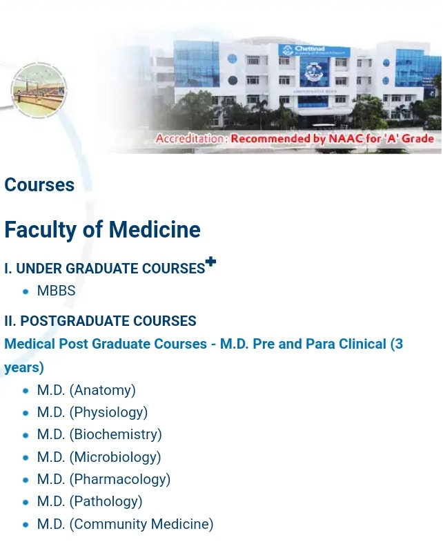 Chettinad Medical College fee structure