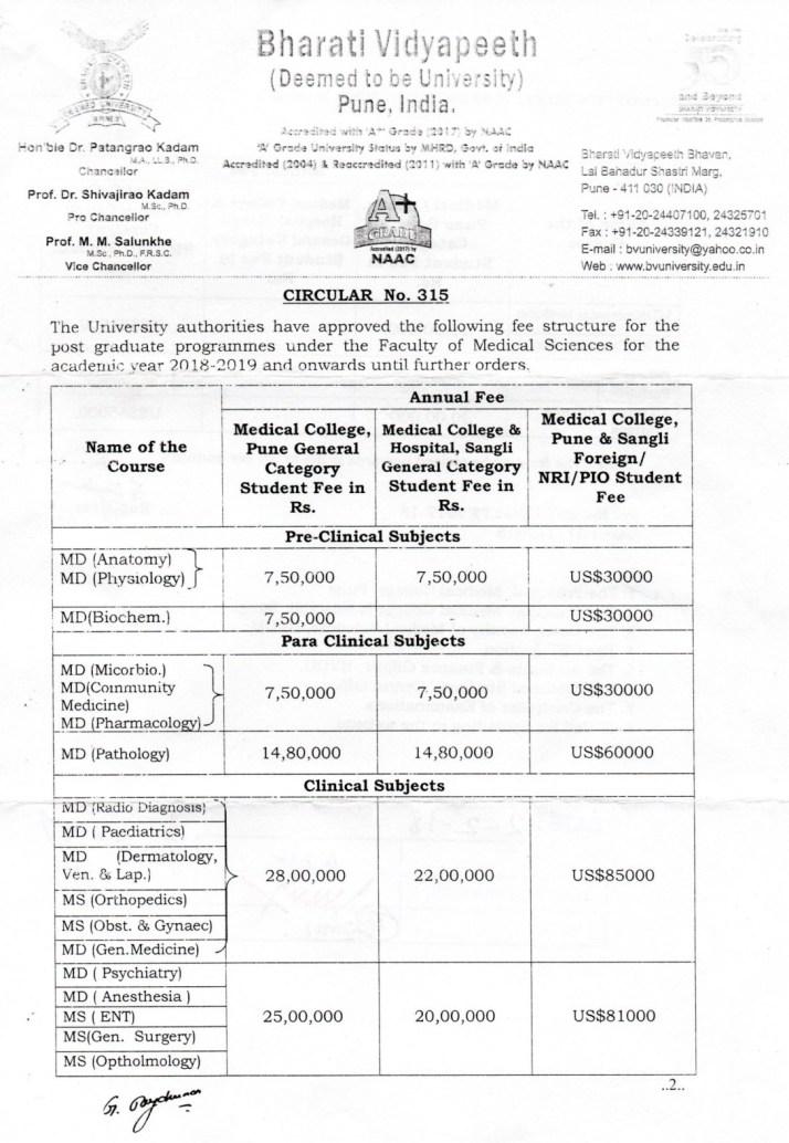 Bharati Vidyapeeth fee structure