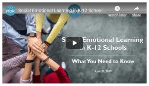Social Emotional Learning in K-12 Schools Webinar title slide