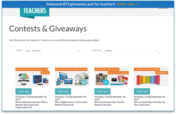 WeAreTeachers Contests & Giveaways screenshot