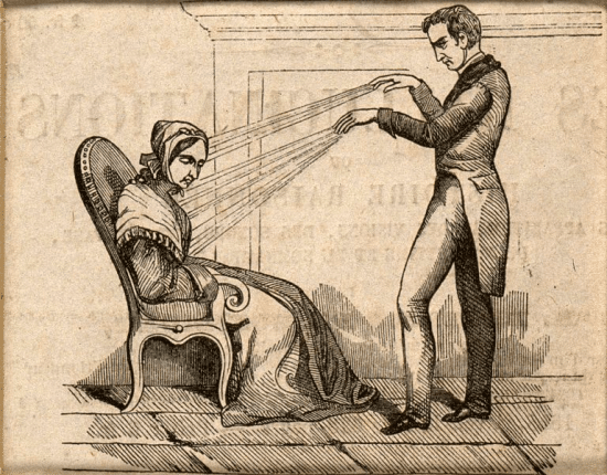 A practitioner of mesmerism using animal magnetism on a woman who responds with convulsions