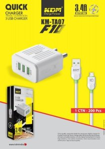 KDM F10 3.4 Amp quick charger 3 USB Port (KM-TA07)