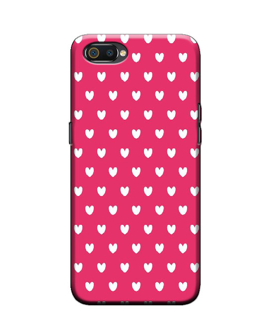 Realme C2 back cover (pink hearts)