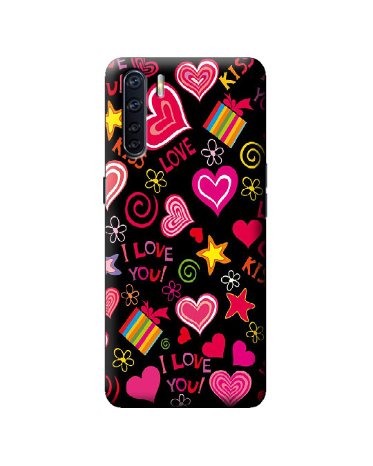 oppo F15 mobile back cover (love hearts)