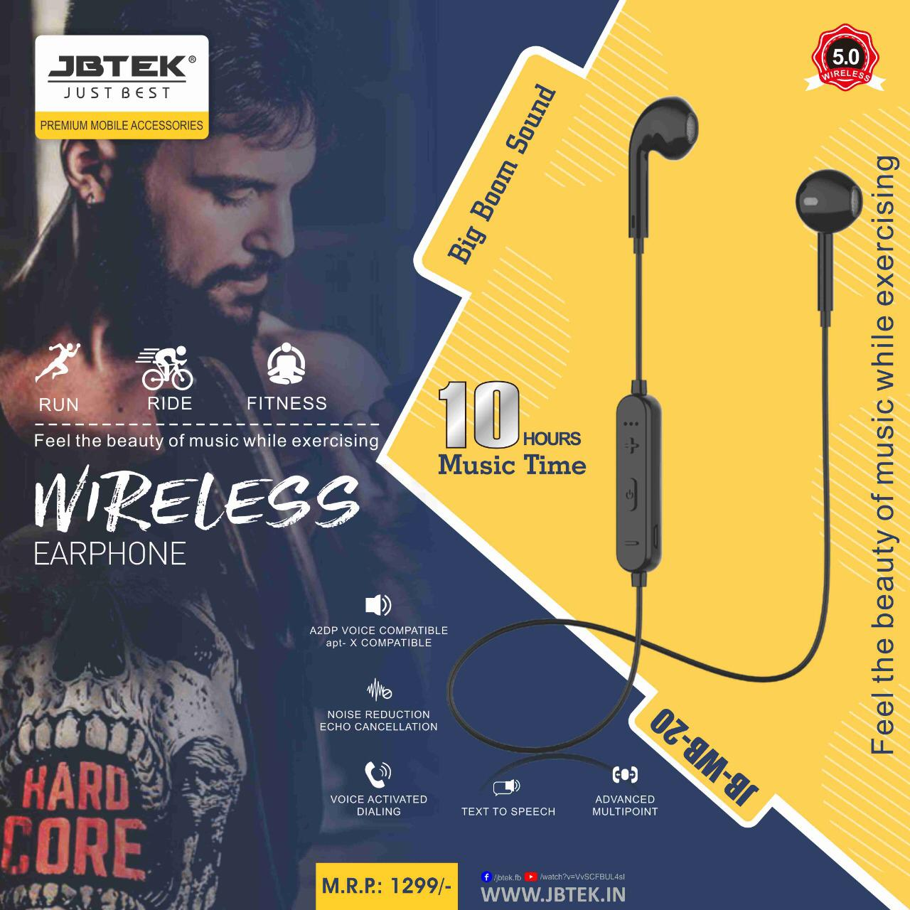 jbtek wireless Bluetooth Earphone JB-WB-20