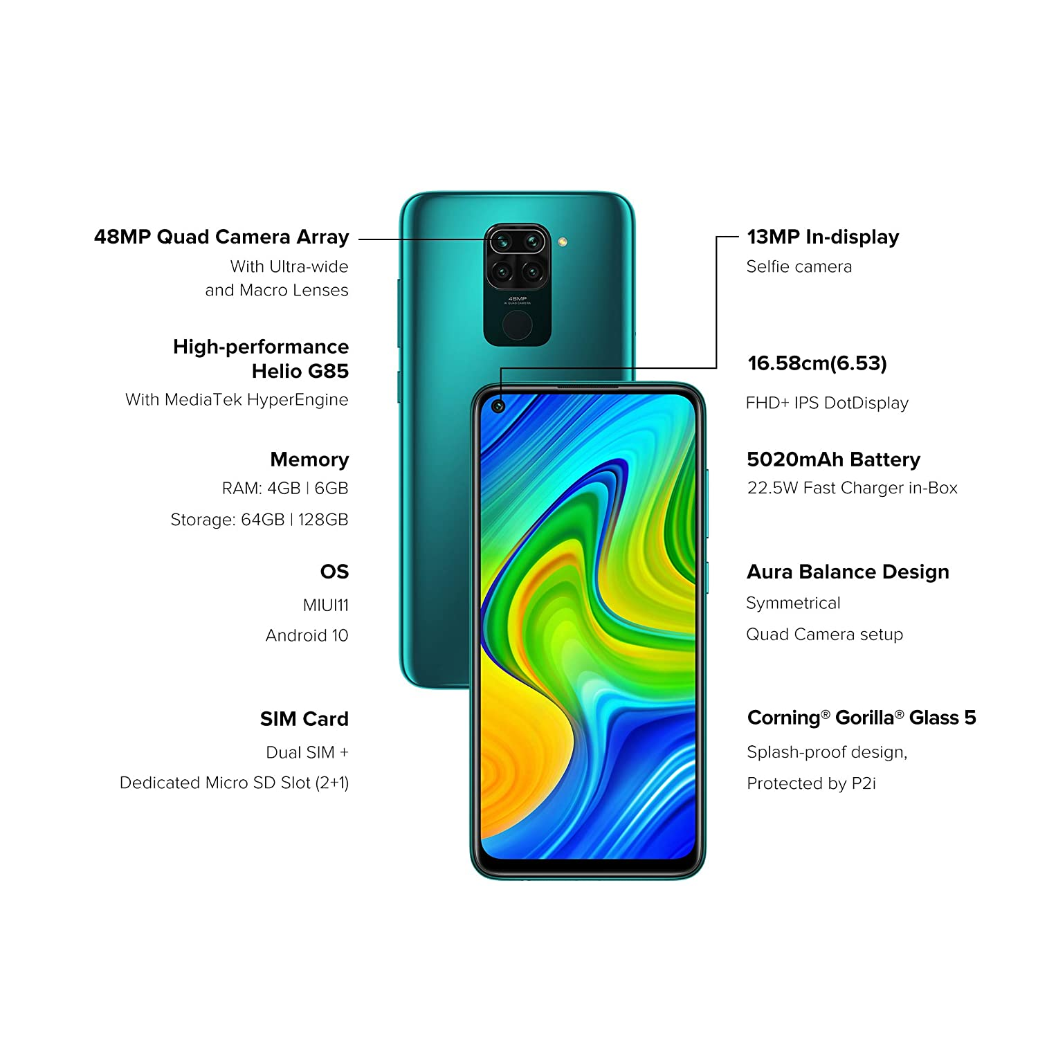 Redmi Note 9 6GB RAM /128GB Memory (Aqua Green)