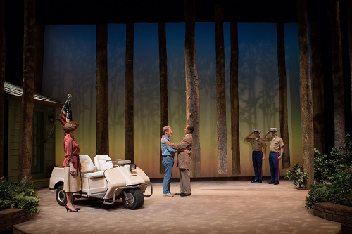 Hallie Foote as Rosalynn Carter, Richard Thomas as Jimmy Carter and Khaled Nabawy as Anwar Sadat with Will Beckstrom and Will Hayes in Camp David at Arena Stage, 2014. The West Coast premiere of the Arena Stage production of Lawrence Wright's Camp David, directed by Molly Smith, runs May 13 – June 19, 2016 at The Old Globe. Photo by Teresa Wood.
