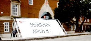 About Middlesex Minds - a banner outside the university building