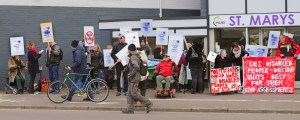 Disabled people protest outside St Marys House, Norwich - Roger Blackwell